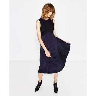 Zara Navy Blue Pleated Dress