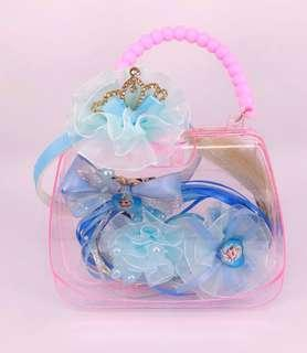 🚚 Frozen Hair Accessories w Clear Storage Box Gift Set for Girls (Blue/Pink/Purple) A058