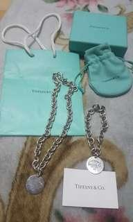 Authentic Tiffany & co. Round tag bracelet and necklace