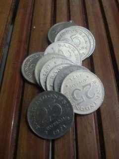 Uang Kuno 25 Rupiah 1971 Asli