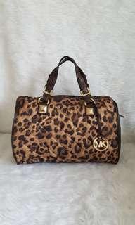 LAST PRICE! FREE SHIP! Auth Michael Kors Grayson Leopard Print Satchel Bag coach kate spade