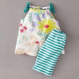 BN Baby Girls' Tie String Spaghetti Top Leggings Set