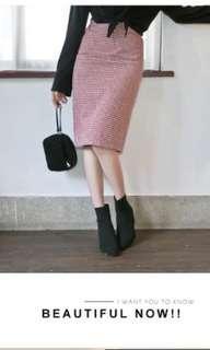 Lulus紅白配色格子長裙