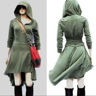 Army Green Gothic Hooded Dress