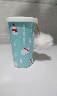BN Starbucks polar bear tumbler mug with white pom pom