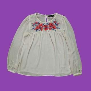 Dorothy Perkins Embroidered Sheer Blouse