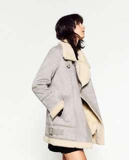 Zara oversized suede effect jacket in grey