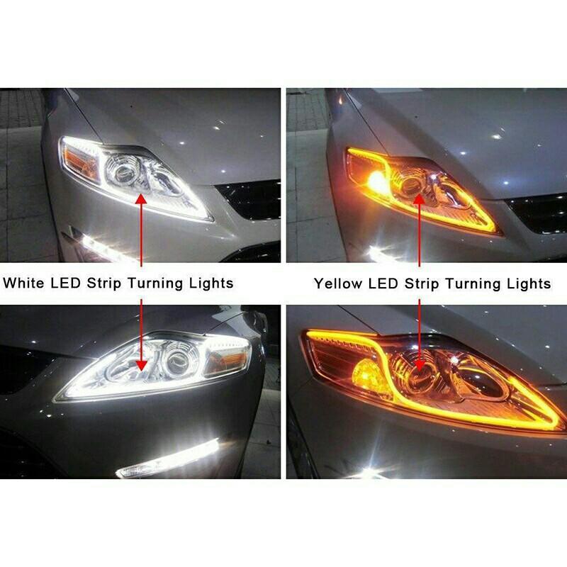 Strip Flexible Tube DRL Lamps Light White Amber DC10~12V Soft LED Signal 2Pcs