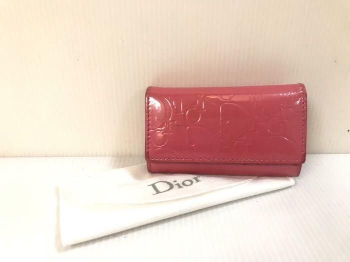 二手正品 Dior 桃紅色亮面皮壓紋LOGO鑰匙包