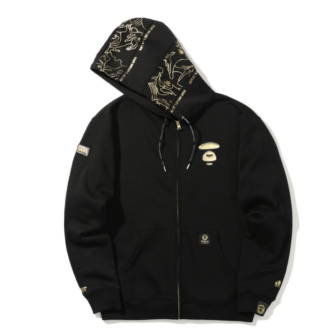 30b618318c5b AAPE Black and Gold Hoodie