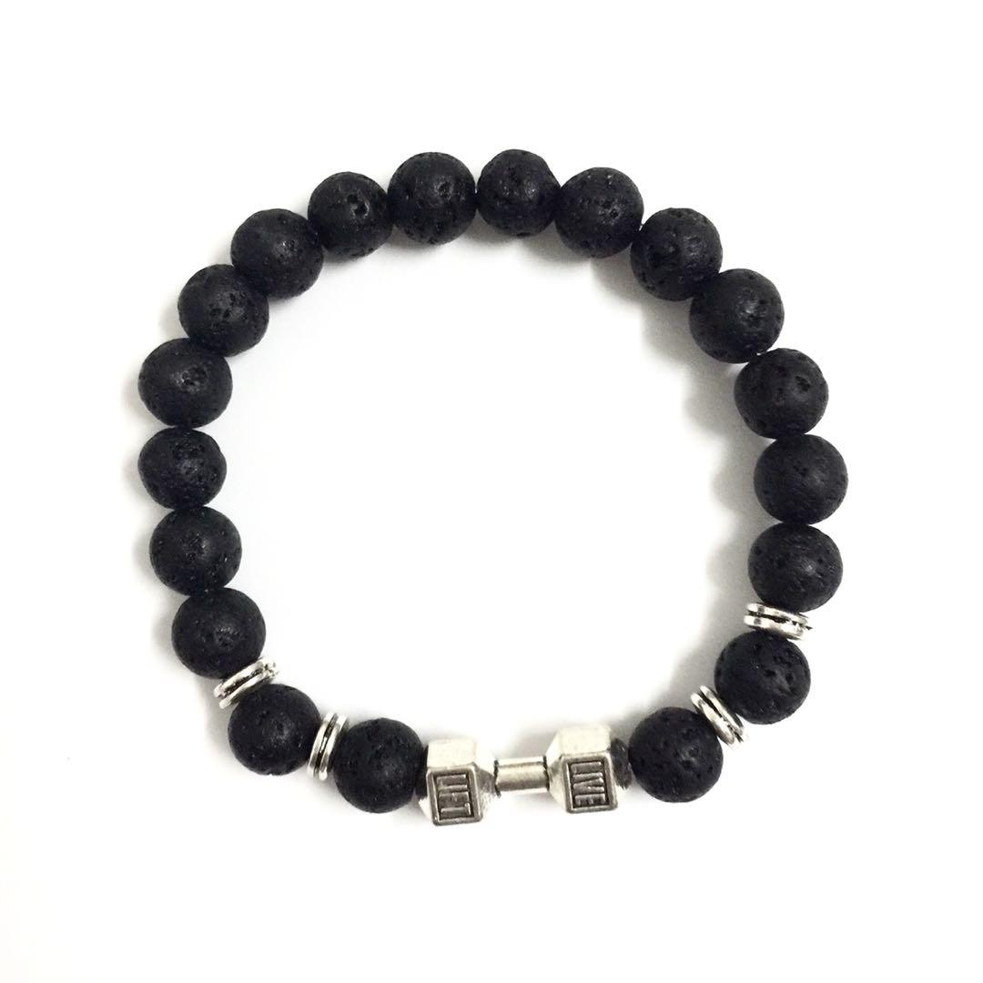 Black Stones Alloy Dumbbell Men's Beaded Elastic Bracelet