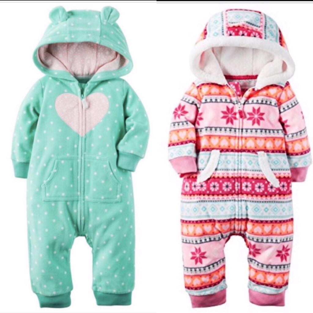 6e6c8d605 BN Carters Baby Girl Winter Fleece One Piece Romper Jumpsuit ...