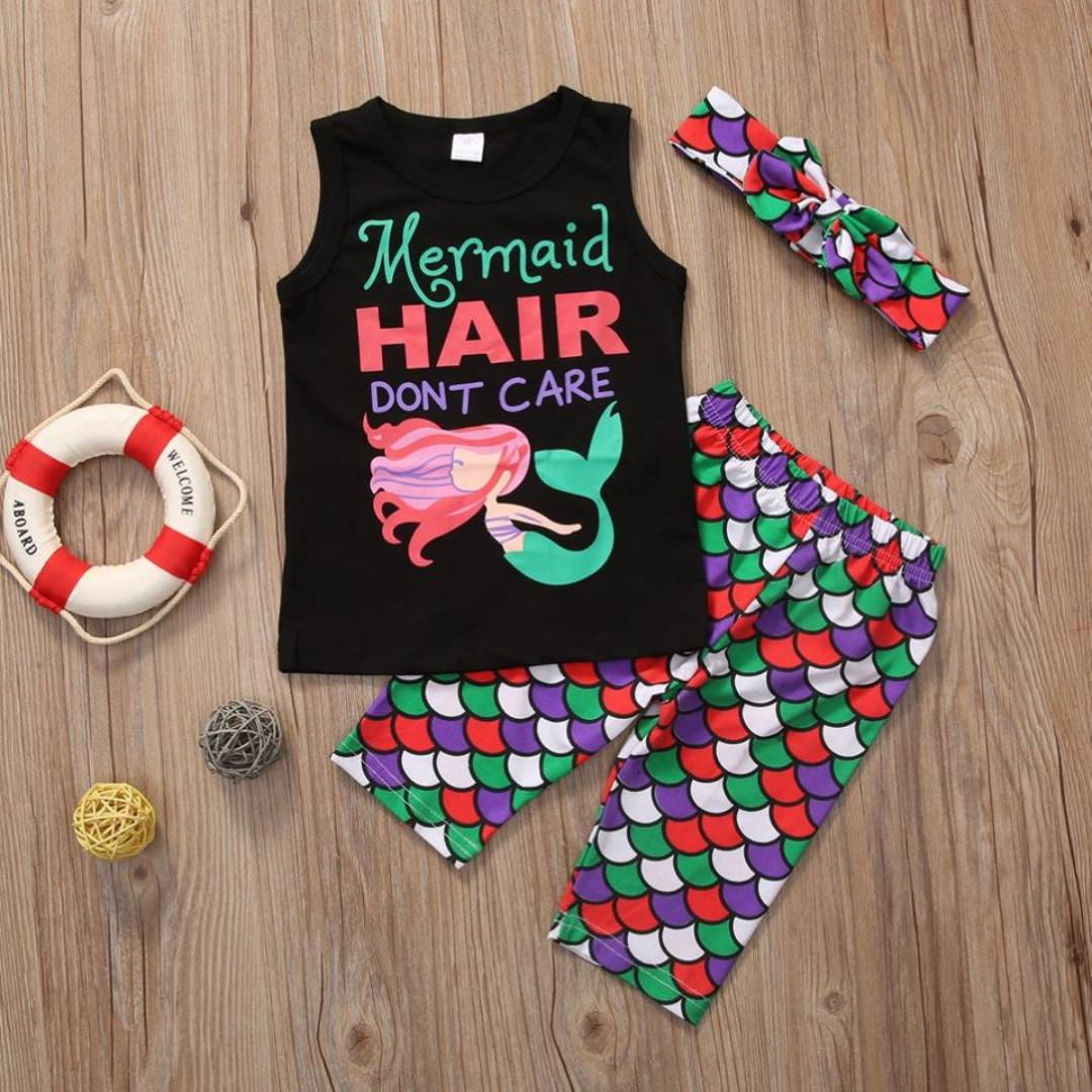 BNIP Girls Mermaid Hair Don't Care Top + Shorts + Headband Outfit Set