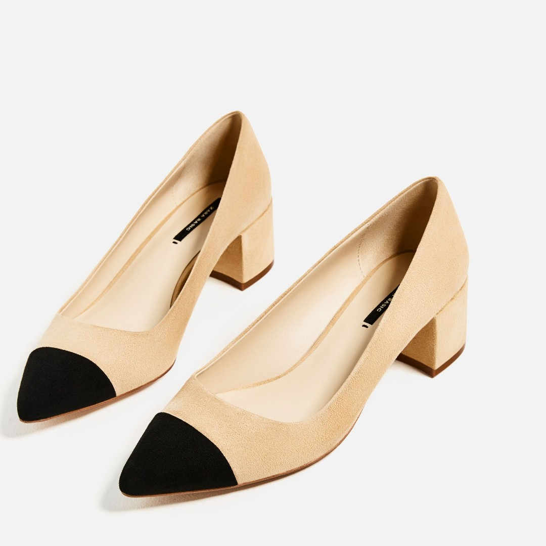 d41ad7a985c53 BNWOT Zara Mid-Heel Shoes with Contrasting Toe Cap EU38, Women's Fashion,  Shoes, Heels on Carousell