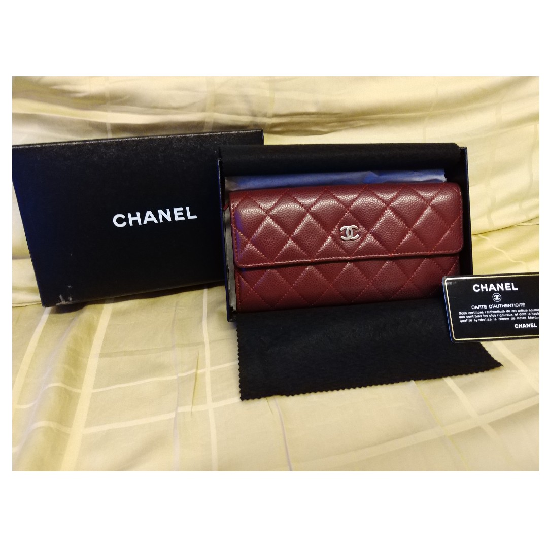 d7fccc685a69 CHANEL Matelasse Bifold A50096 Long wallet Caviar Leather Red ...