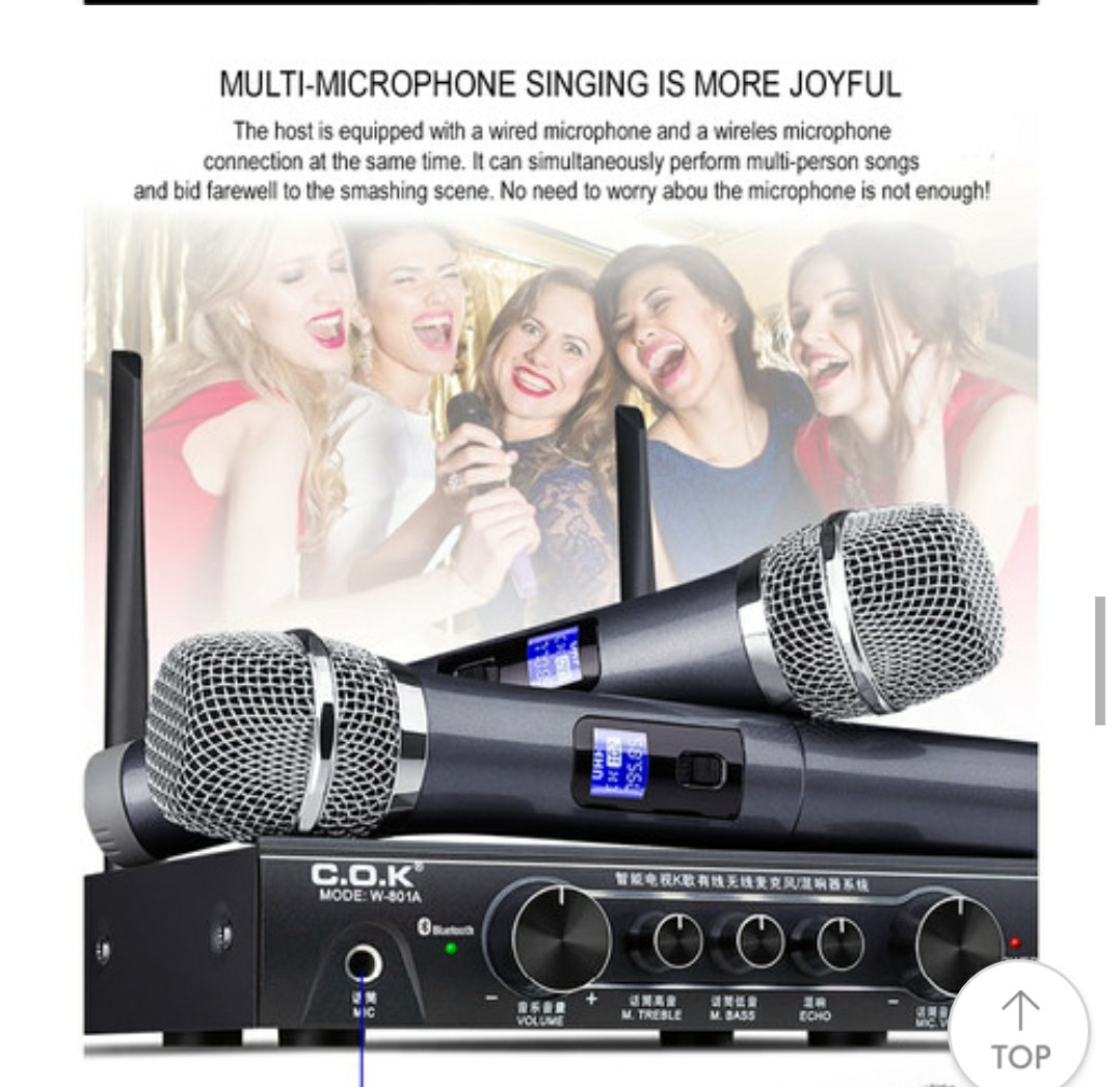 Cok Karaoke Wireless Microphone Mixer Reciver System Electronics Audio On Carousell