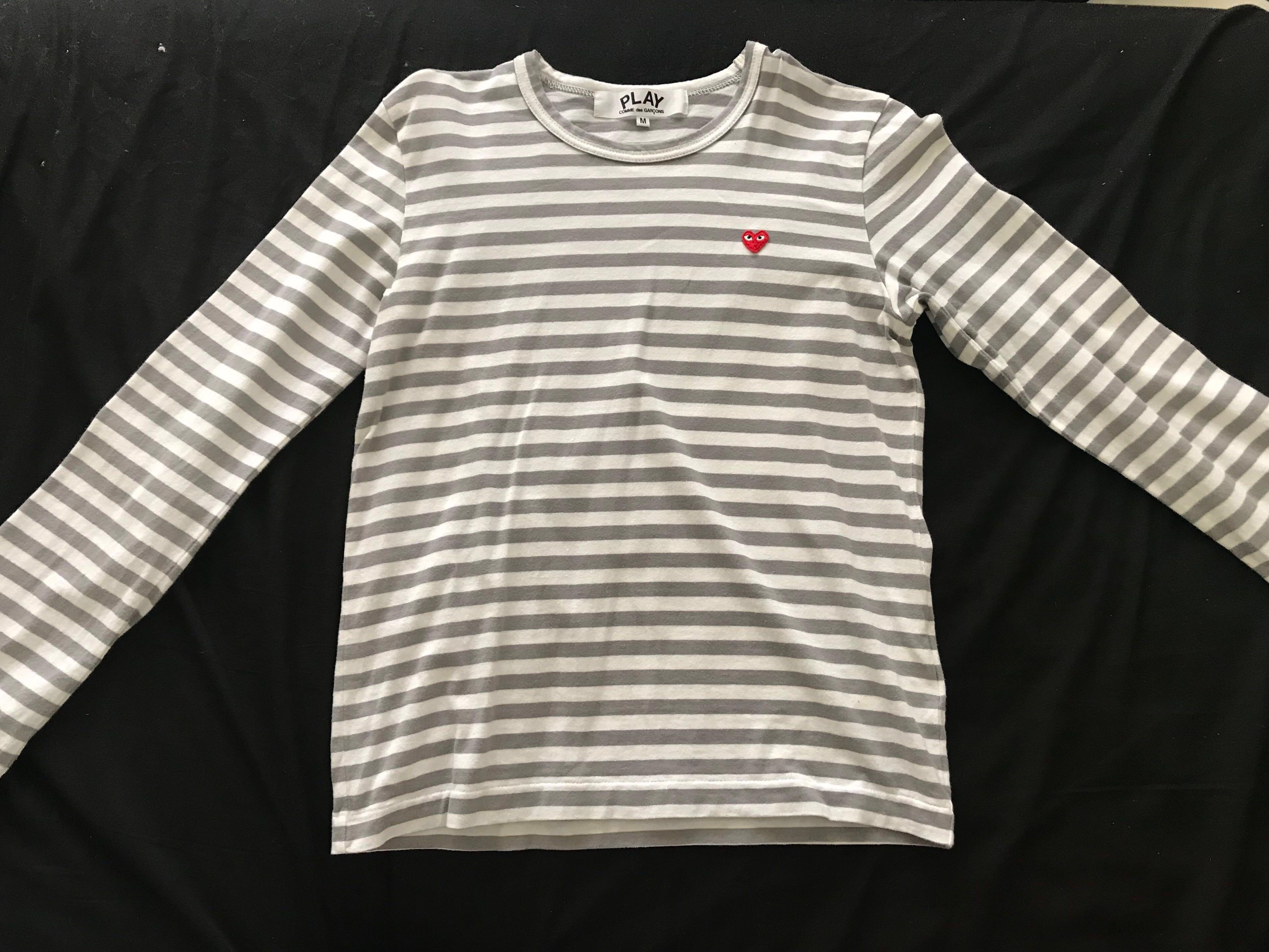 COMME DES GARCONS PLAY WOMENS LITTLE RED HEART LONG SLEEVE STRIPE TEE