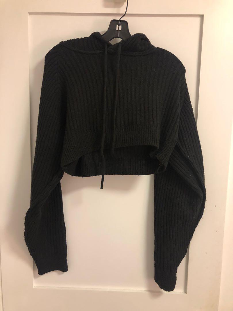 Cropped ribbed hoodie