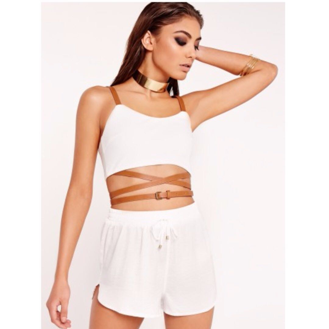 720024babe CROPPED TOP Missguided - Peace + Love belted strap bralet white ...