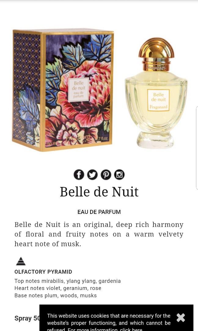 Fragonard Belle De Nuit Perfume Health Beauty Perfumes