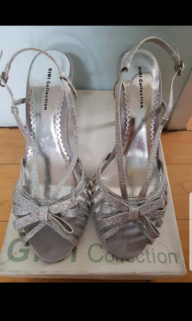 9a76fa2fbdb Pre-loved Gibi Silver Glittery Sandals with Heels. Size 7.