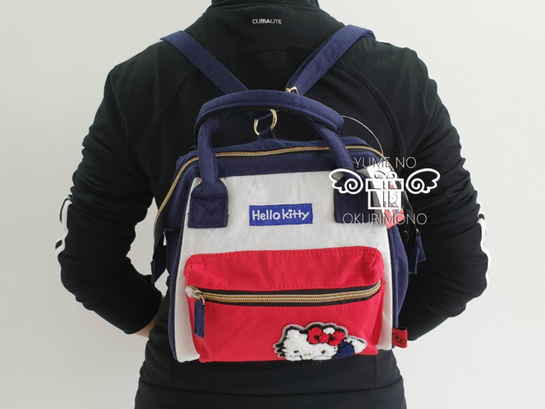 Hello Kitty - Chenille Embroidery Clasp Mini Rucksack (Blue Red and White) d8e770972756a