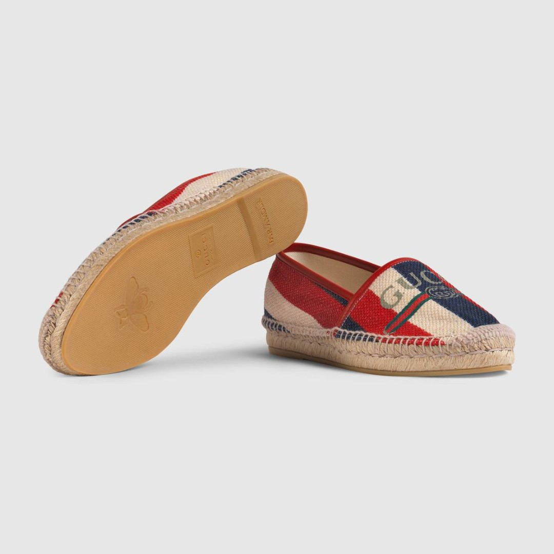 2d7e20b7f93c Hibiscus Red Gucci logo Sylvie canvas espadrille, Women's Fashion ...