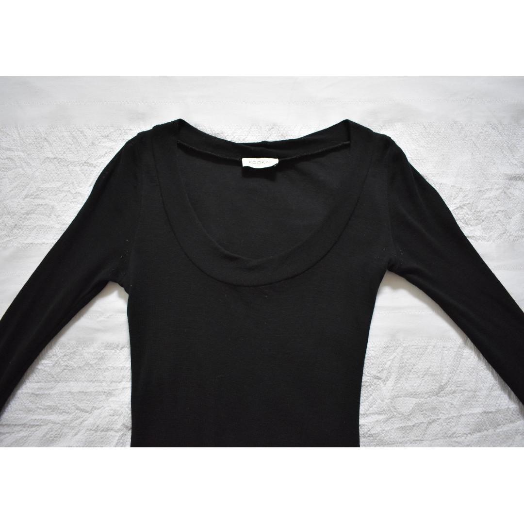 Kookai Black Long Sleeve Wool Dress One Size RRP $120.00