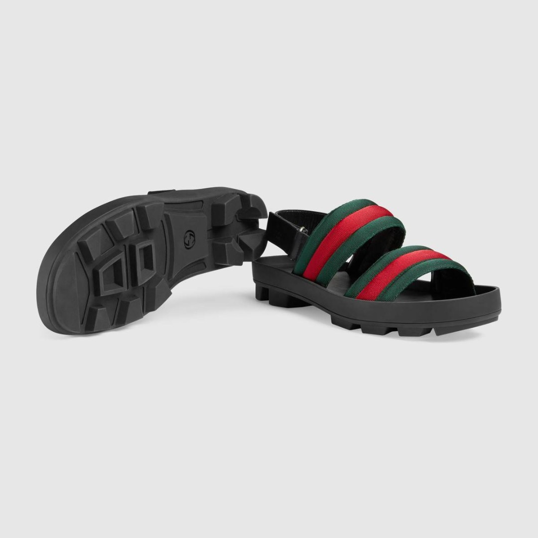 2457daf283dd Men s Green   Red Leather and Web sandal
