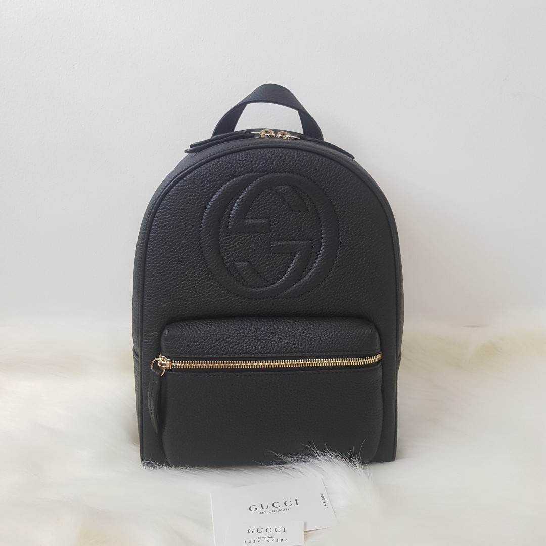 d1b9c652d250 ON HAND  Authentic Gucci Soho Leather Gold Chain Backpack Bag ...
