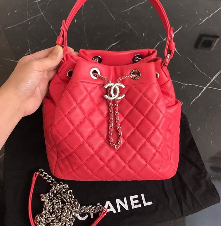 b487879867a3 Preloved chanel Bucket bag coral pink, Luxury, Bags & Wallets ...
