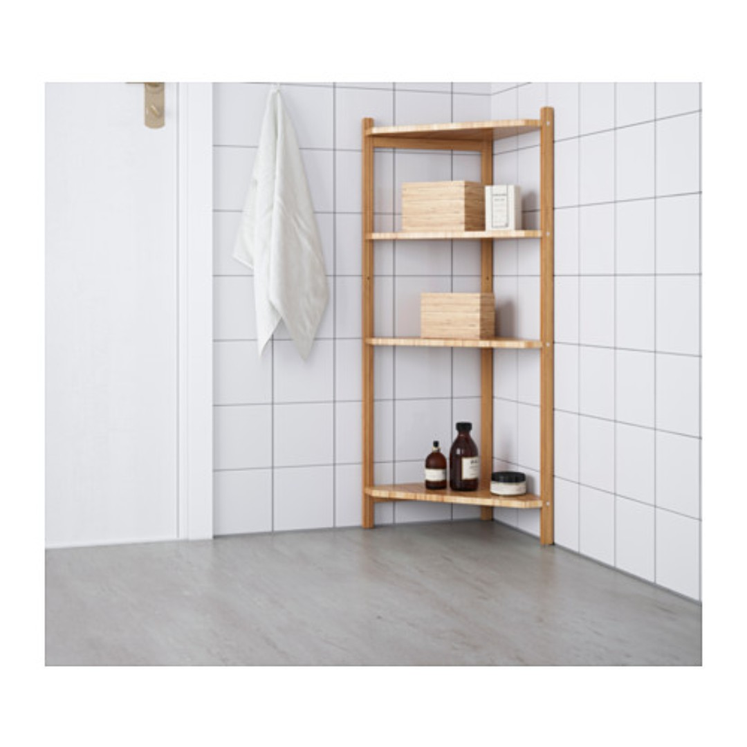 Ragrund Bamboo Bathroom Corner Shelf Unit Ikea Furniture Shelves Drawers On Carousell