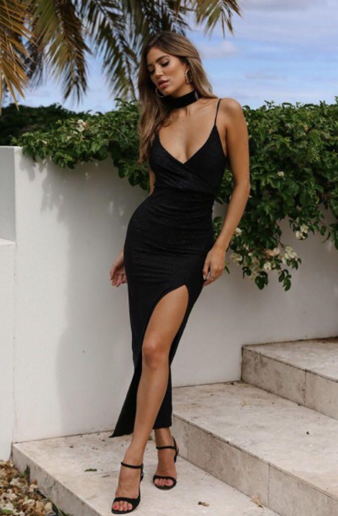 Slightly shimmery black dress