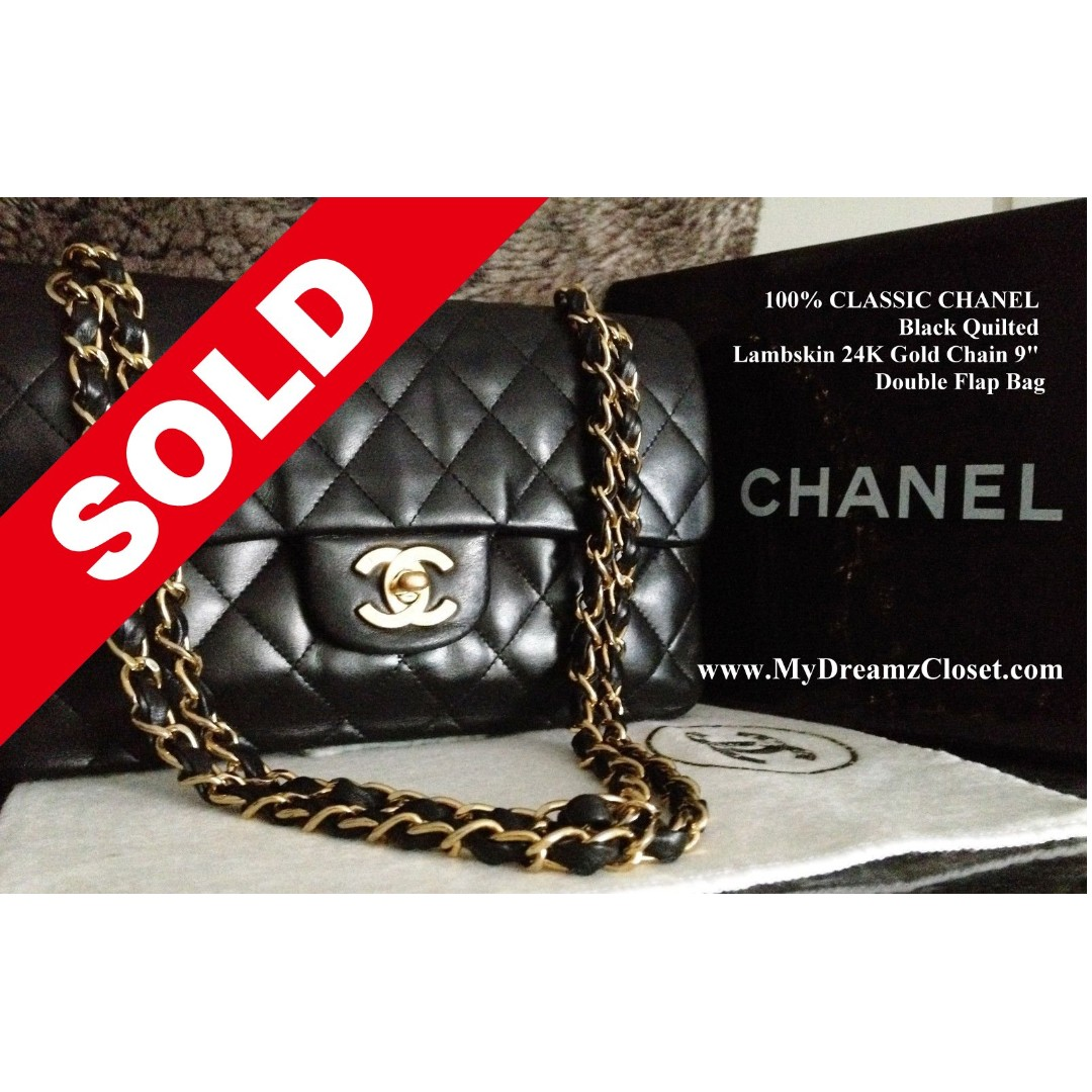 14b7a43c165d SOLD - 100% CLASSIC CHANEL Black Quilted Lambskin 24K Gold Chain 9 ...