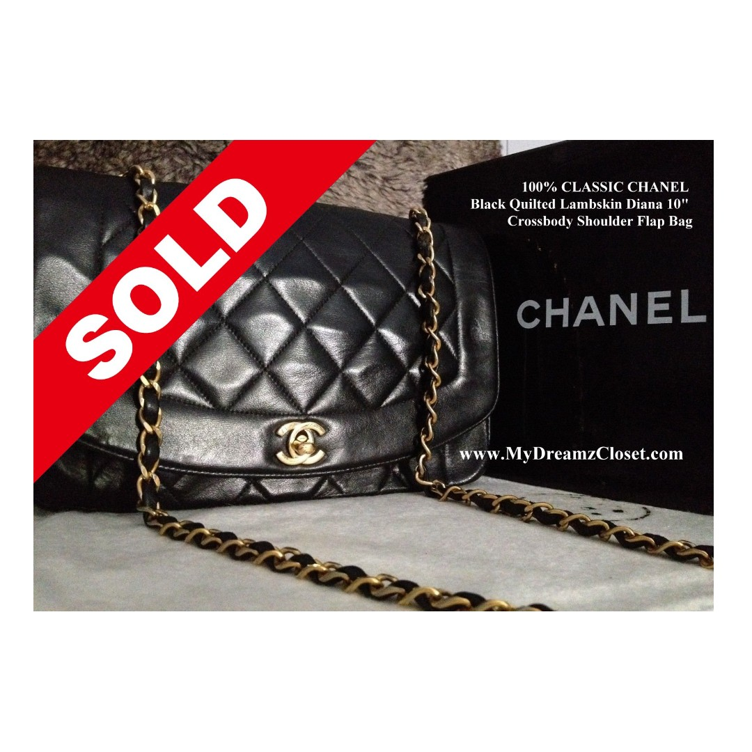 0c621623e31 SOLD - 100% CLASSIC CHANEL Black Quilted Lambskin Diana 10 ...