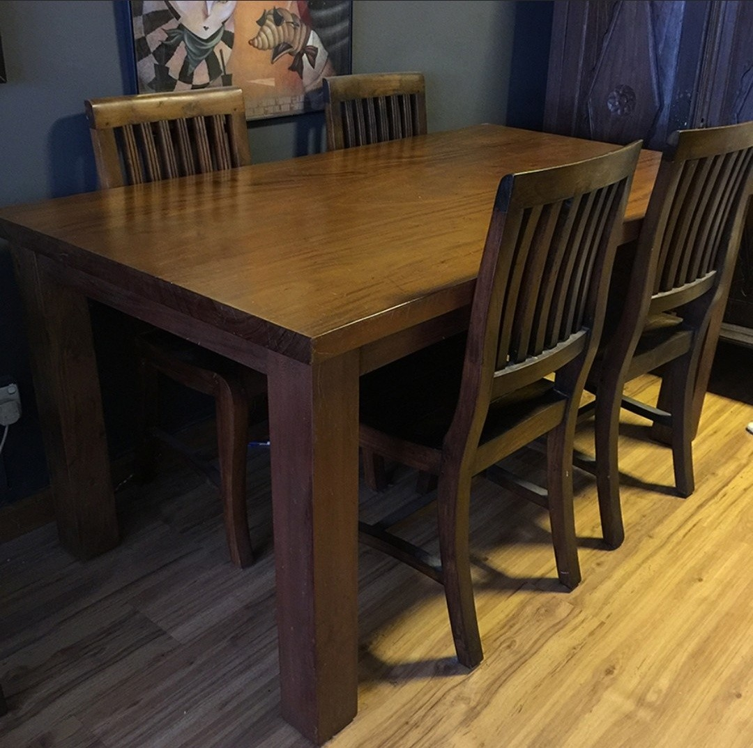 Solid Teak Jati Wood Dining Table Chairs Furniture Tables