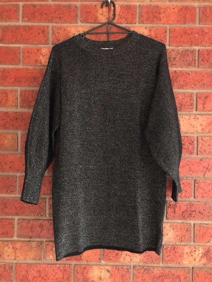 Sparkly knit batwing dress size XS