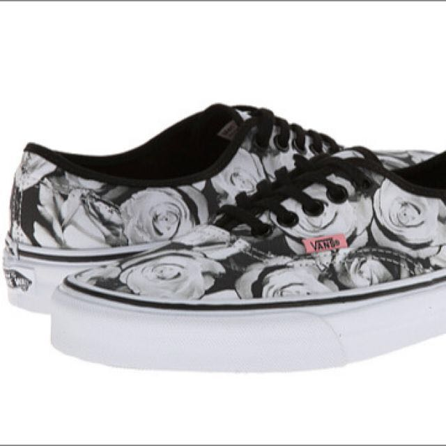 938c3db14b9 Vans Girls Authentic Digi Roses Black White Shoes