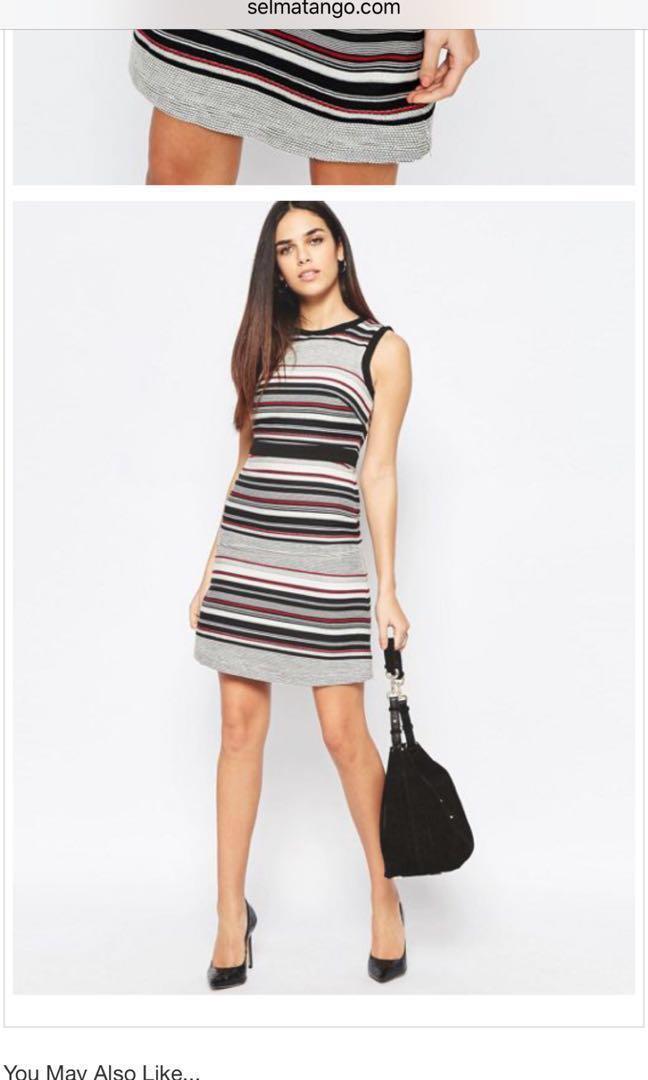 Warehouse Multi Striped Work Dress Women S Fashion Clothes