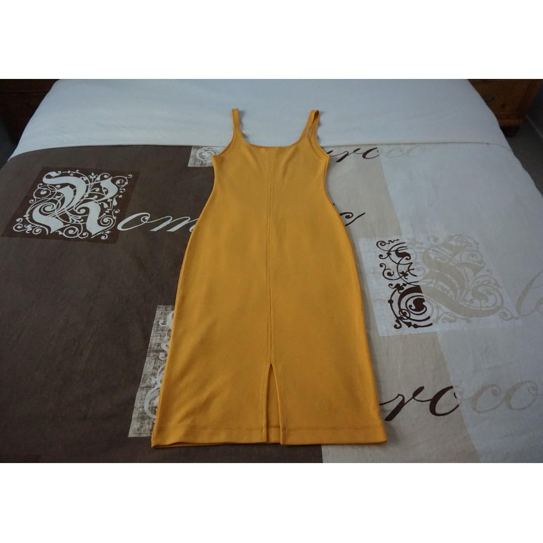 ZARA Orange Midi Bodycon Tank Dress Size Medium RRP $50.00