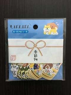 日本 柴犬貼紙 金箔和紙 40枚組