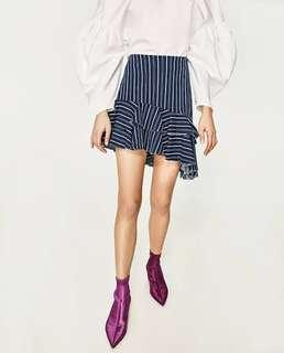 Zara Striped Skirt with Frills
