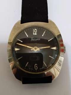 瑞士Trelawn男装手上鏈機械表,黑表面,行走正常, 35mm ,品相如圖,