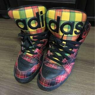 🚚 Adidas Originals x Jeremy Scott Checkered High Sneaker Shoes US Size 9 Mens (but fits like size 8)