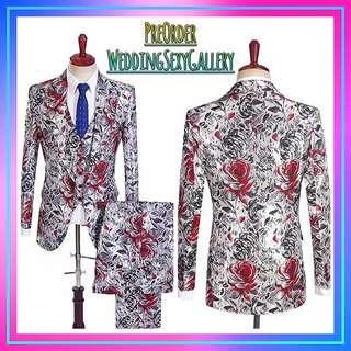 🚚 #[22]🌹⏺🅿🅾⏺🌹Floral Pqrint Men Tuxedos Custom Casual Groom