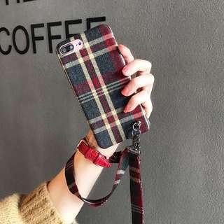 手機殼 電話殼 iPhone 7plus/8plus 格仔 紅色 手機殼