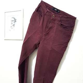 (PRELOVED) MANGO Highwaisted Basic Maroon Denim - Celana Jeans (FIT TO M Size)