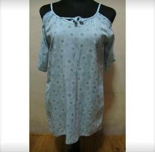 Light Blue Floral Cold Shoulder Dress
