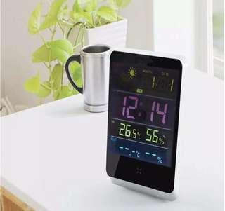 PYRUS Digital Alarm Clock Weather Station With Temperature/Humidity/Forecast and Large Night Lighting LCD Screen