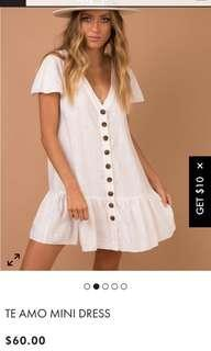 Princess Polly white linen te amos mini dress